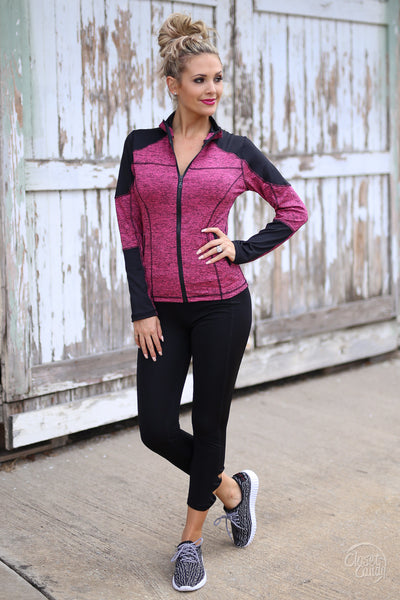 Stay Focused Athletic Jacket - pink and black zip up athletic jacket, front, Closet Candy Boutique