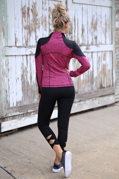 Stay Focused Athletic Jacket - pink and black zip up athletic jacket, back, Closet Candy Boutique