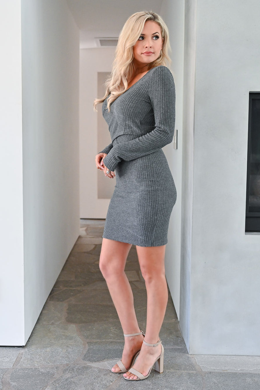 Don't Miss Tonight Waffle Knit Dress - Charcoal womens trendy long sleeve comfortable short dress closet candy front