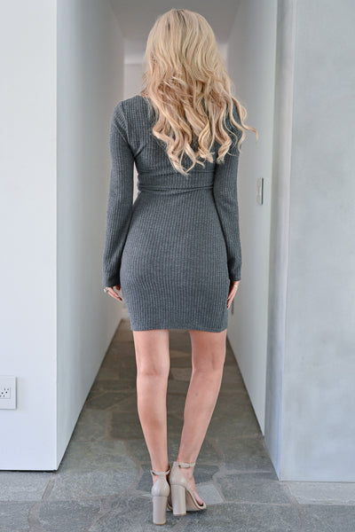 Don't Miss Tonight Waffle Knit Dress - Charcoal womens trendy long sleeve comfortable short dress closet candy back
