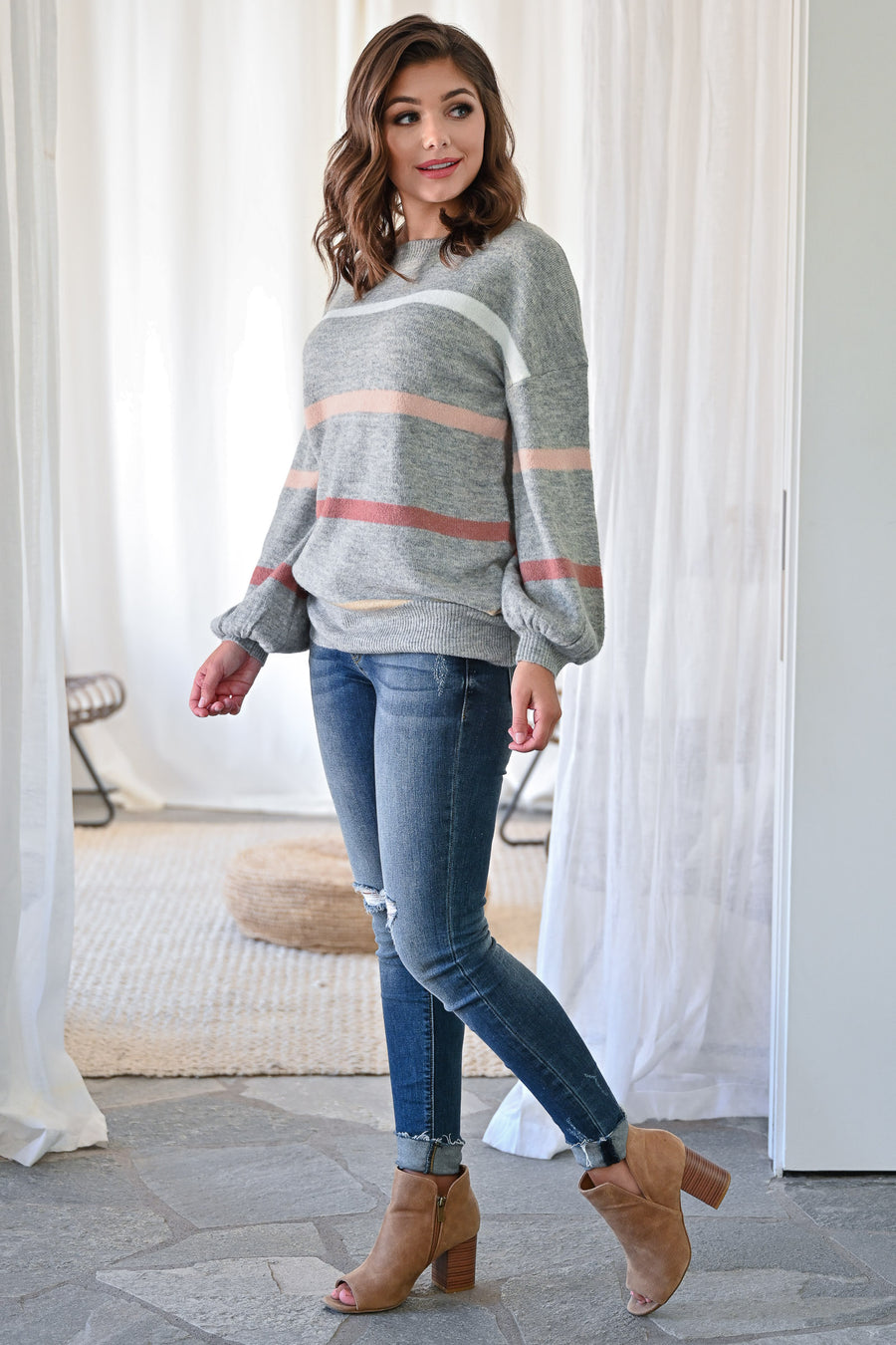 Subtle Hints Striped Sweater - Heather Grey womens trendy long sleeve synched bottom striped cozy sweater closet candy front; Model: Hannah Ann S