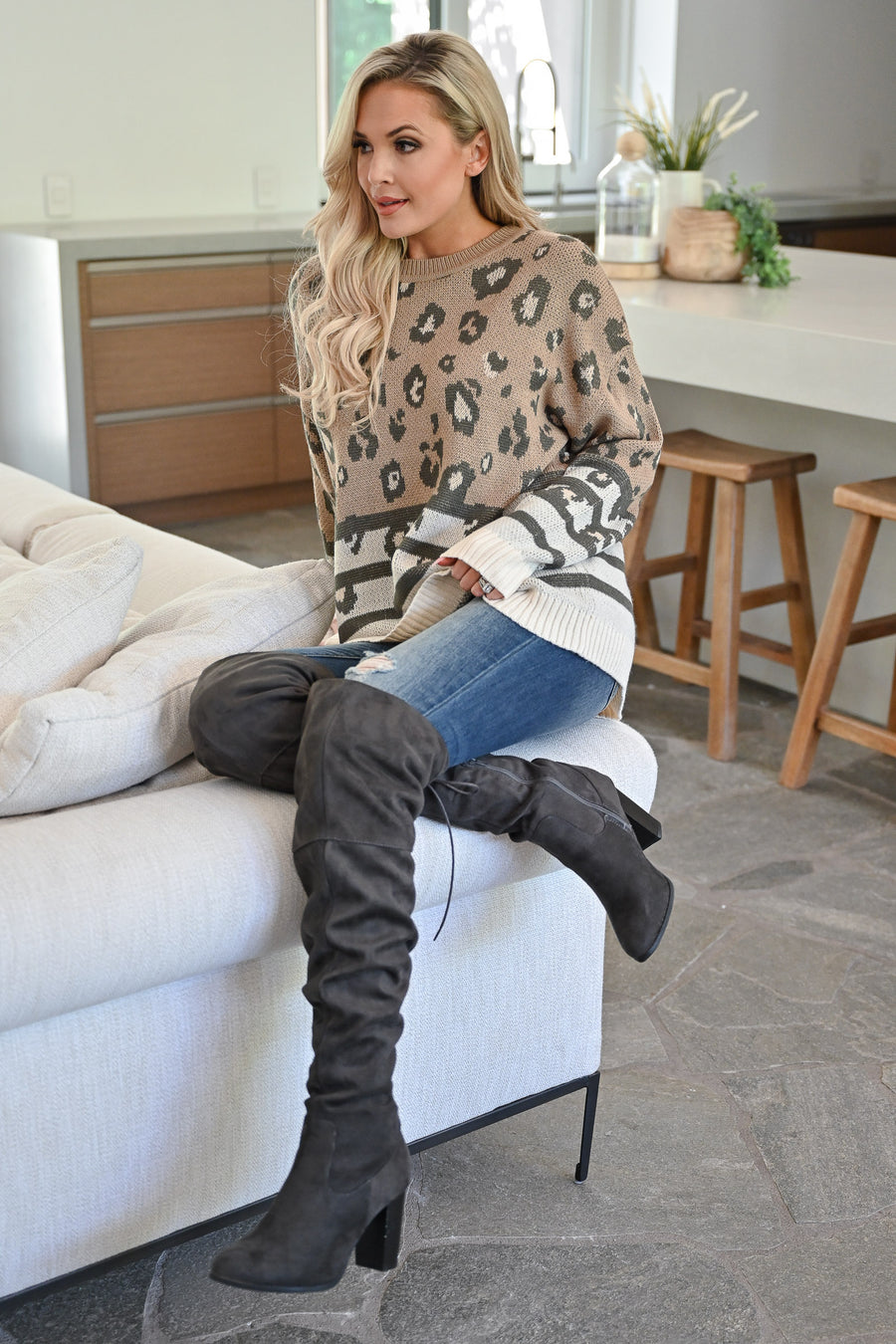 Times Are Changing Sweater - Mocha womens trendy stripe and leopard print long sleeve sweater closet candy front