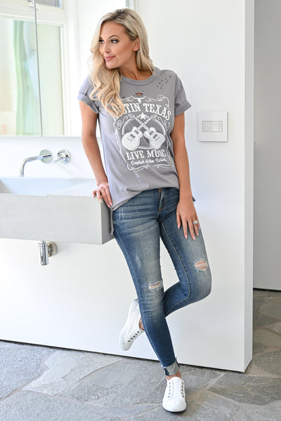 """Austin Texas"" Graphic Tee - Grey womens casual short sleeve graphic tshirt closet candy front"