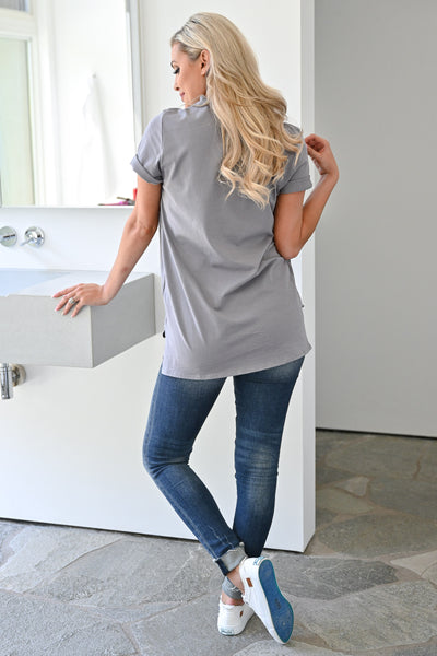 """Austin Texas"" Graphic Tee - Grey womens casual short sleeve graphic tshirt closet candy back"