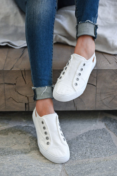 Wherever You Wander Sneakers - All White womens trendy white slip on casual sneakers closet candy front