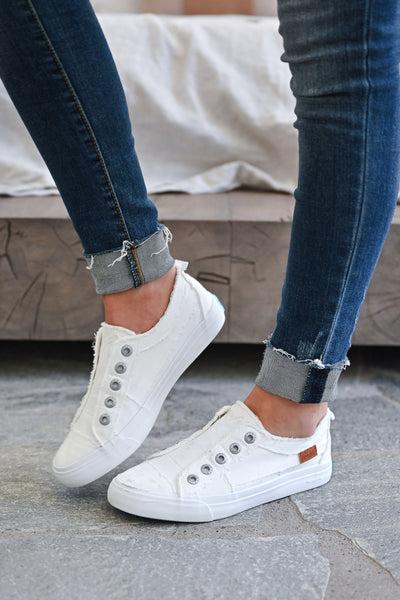 Wherever You Wander Sneakers - All White womens trendy white slip on casual sneakers closet candy side 2