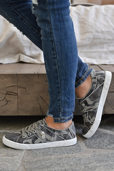 Nellie Sneakers - Earth Camo womens casual slip on camo print tennis shoes closet candy side 2