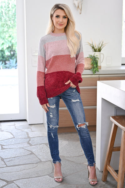Never Alone Color Block Sweater - Berry womens trendy chenille knit long sleeve sweater closet candy front