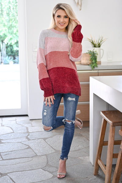 Never Alone Color Block Sweater - Berry womens trendy chenille knit long sleeve sweater closet candy front 2