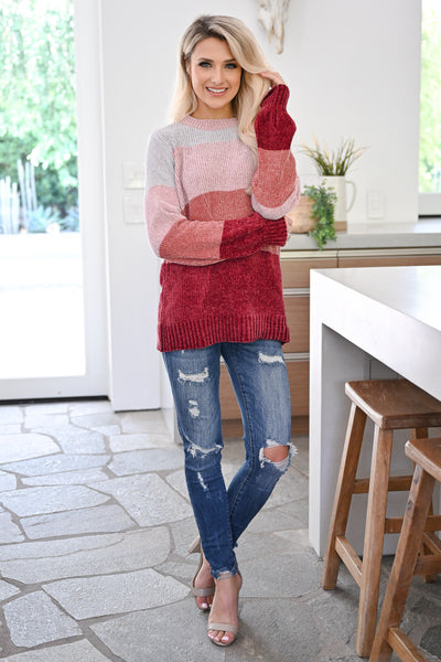 Never Alone Color Block Sweater - Berry womens trendy chenille knit long sleeve sweater closet candy front 3