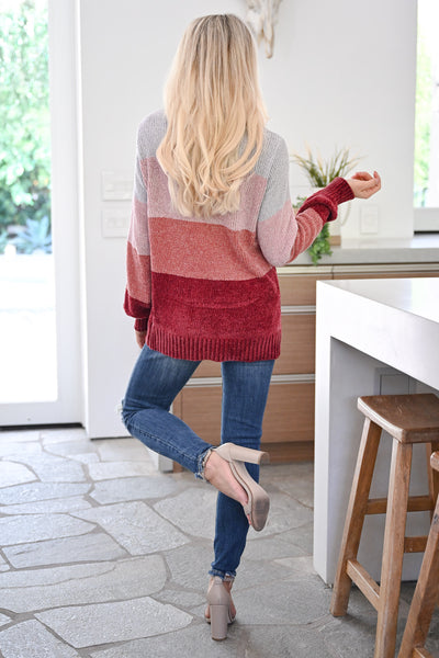 Never Alone Color Block Sweater - Berry womens trendy chenille knit long sleeve sweater closet candy back