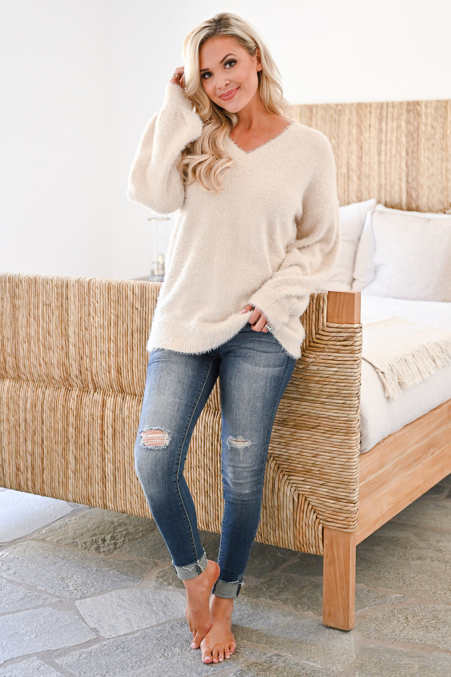 By The Fire Fuzzy Sweater - Cream womens casual long sleeve v-neck fuzzy cozy sweater closet candy sitting