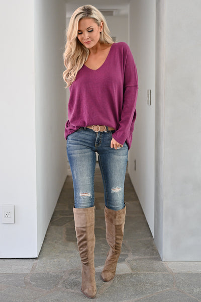 Feel the Chill Oversized Sweater - Plum women casual v-neck long sleeve solid sweater closet candy front