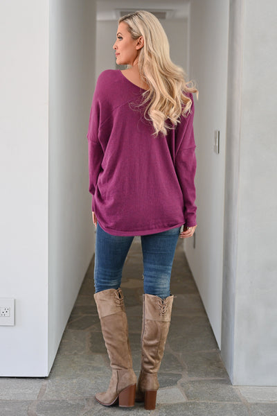 Feel the Chill Oversized Sweater - Plum women casual v-neck long sleeve solid sweater closet candy back