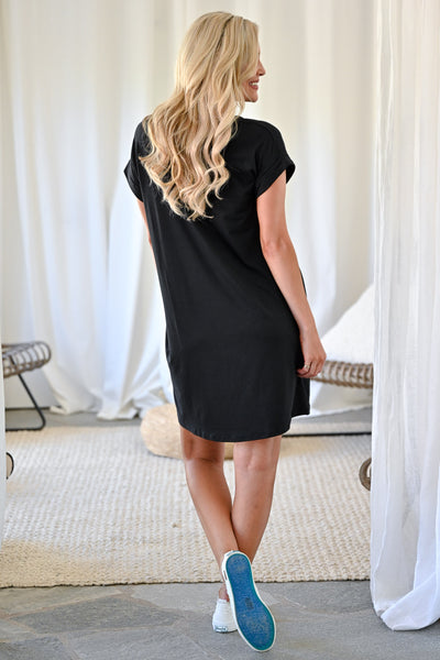 Let's Chill T-Shirt Dress - Black womens casual short sleeve tee dress with pockets closet candy back