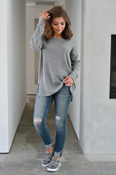 Wake Up and Go Waffle Knit Sweater - Grey womens casual long sleeve oversized slit side sweater closet candy front; Model: Hannah Sluss