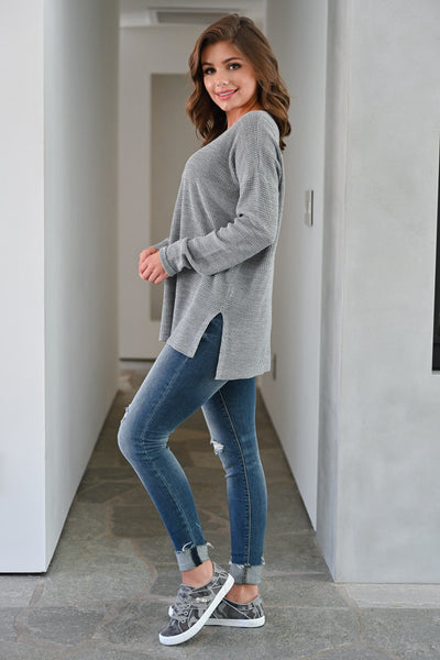 Wake Up and Go Waffle Knit Sweater - Grey womens casual long sleeve oversized slit side sweater closet candy side; Model: Hannah Sluss