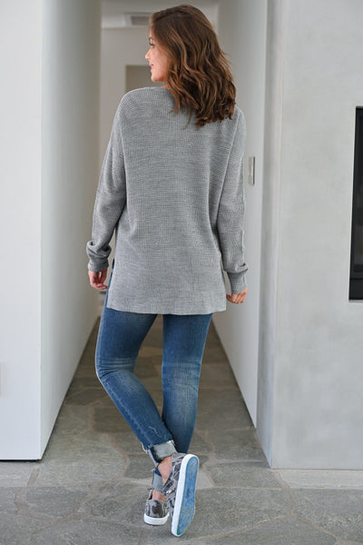 Wake Up and Go Waffle Knit Sweater - Grey womens casual long sleeve oversized slit side sweater closet candy back; Model: Hannah Sluss