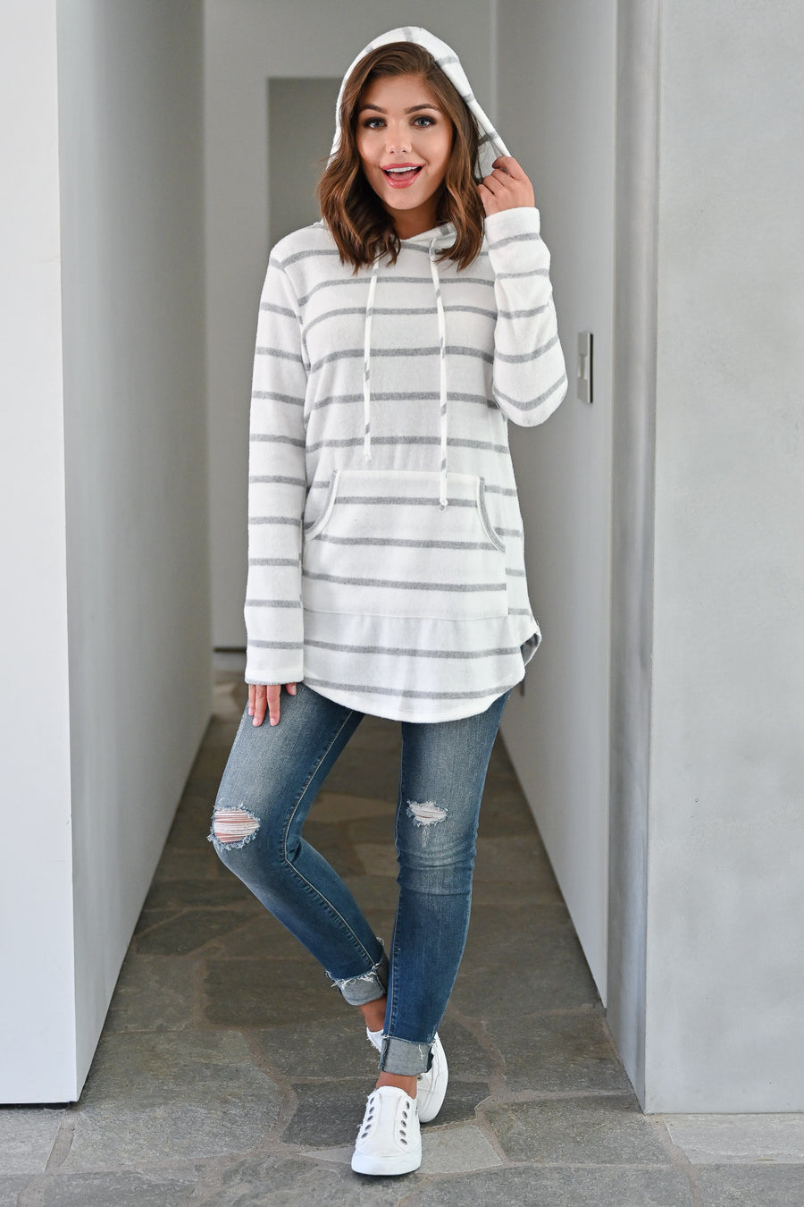 Soul Mates Striped Hoodie - White womens casual hooded striped pullover closet candy close
