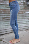 Judy Blue Distressed Skinny Jeans - faded wash distressed mid rise jeans, side, Closet Candy Boutique 6