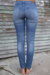 Judy Blue Distressed Skinny Jeans - faded wash distressed mid rise jeans, back, Closet Candy Boutique 7