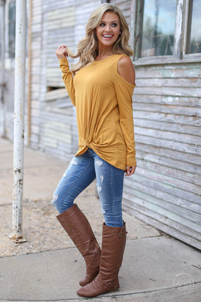 Full Heart Top - mustard knotted hem top, side, Closet Candy Boutique