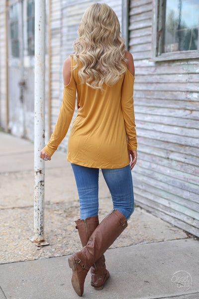 Full Heart Top - mustard knotted hem top, back, Closet Candy Boutique