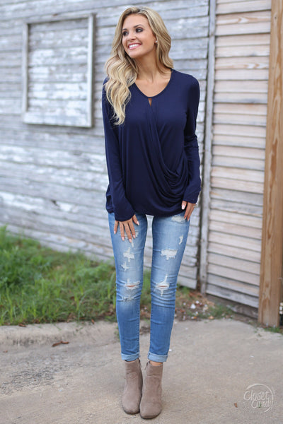 Mindreader Top - navy surplice top, date night outfit, front, Closet Candy Boutique 1