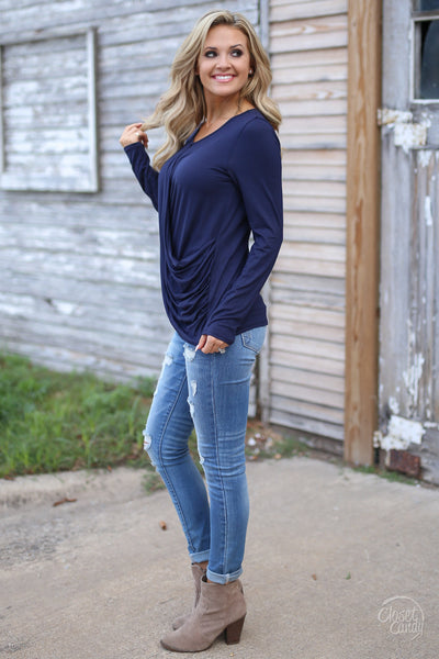Mindreader Top - navy surplice top, date night outfit, Closet Candy Boutique 2