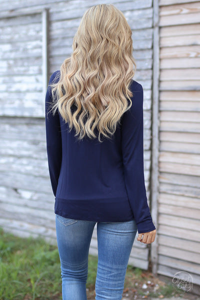 Mindreader Top - navy surplice top, date night outfit, back, Closet Candy Boutique 3