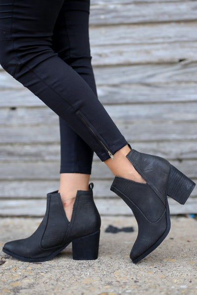 Go West Booties - cute trendy black v-cutout booties, side, Closet Candy Boutique
