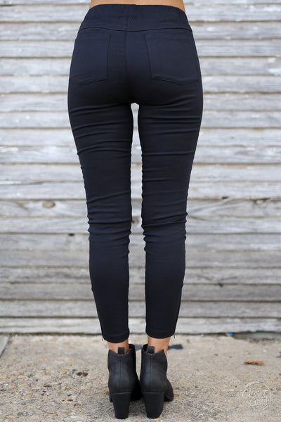 Need For Speed Moto Pants - cute trendy black moto pants, back, Closet Candy Boutique
