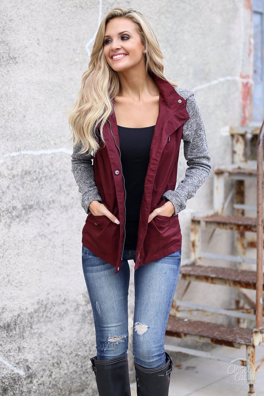 When I'm With You Hooded Jacket - cute wine contrast jacket, fall outfit, Closet Candy Boutique 1