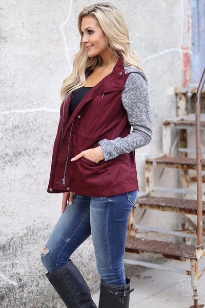 When I'm With You Hooded Jacket - cute wine contrast jacket, fall outfit, Closet Candy Boutique 5
