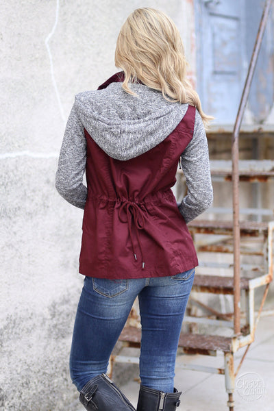 When I'm With You Hooded Jacket - cute wine contrast jacket, fall outfit, Closet Candy Boutique 3