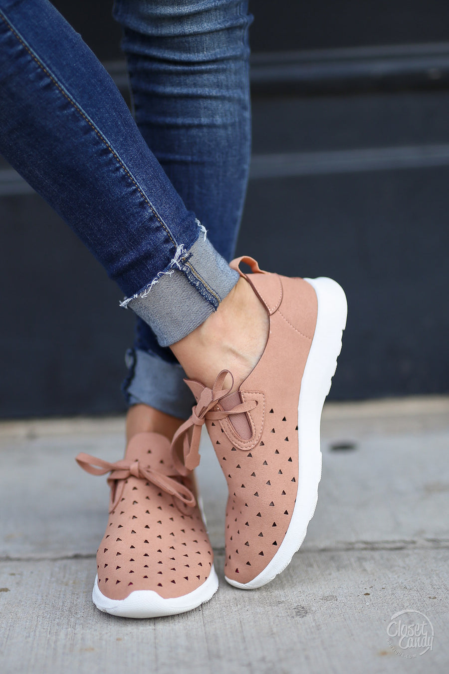 Goody Two Shoes - cute pink cutout sneakers, side, Closet Candy Boutique