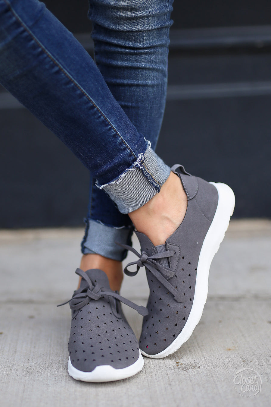 Goody Two Shoes Sneakers - trendy grey laser cutout sneakers, side, Closet Candy Boutique