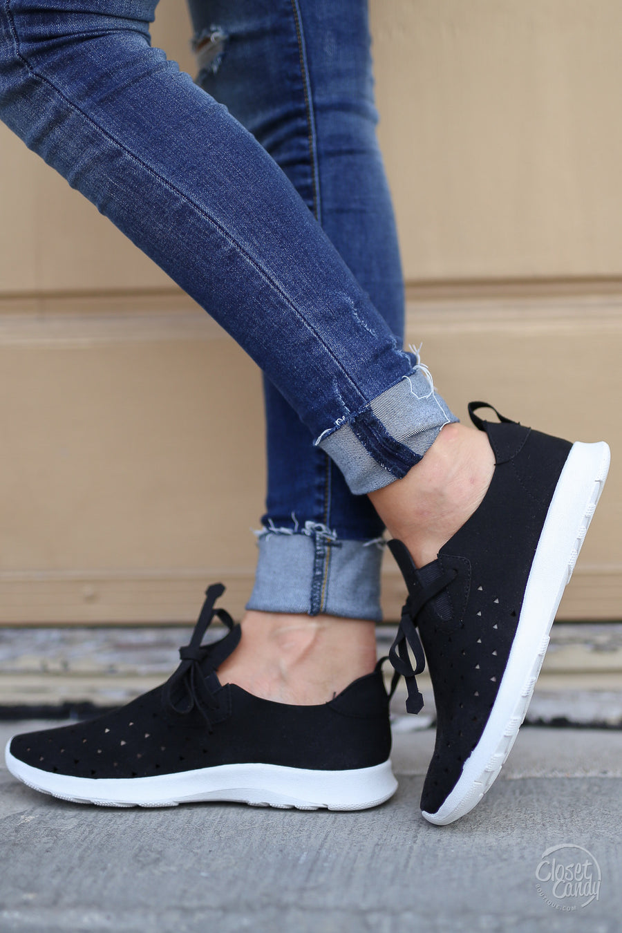Goody Two Shoes Sneakers - Black and white cutout sneakers, front, Closet Candy Boutique