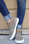Get It Girl Sneakers - cute trendy taupe high top sneakers, front, Closet Candy Boutique