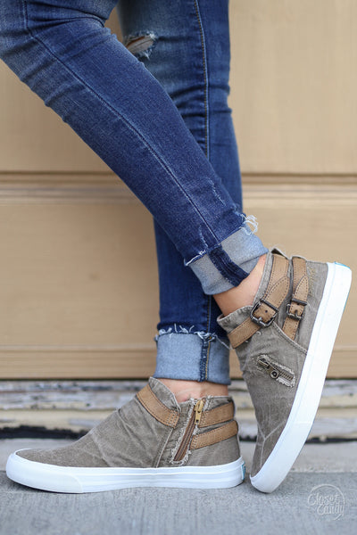 Get It Girl Sneakers - cute trendy taupe high top sneakers, side, Closet Candy Boutique