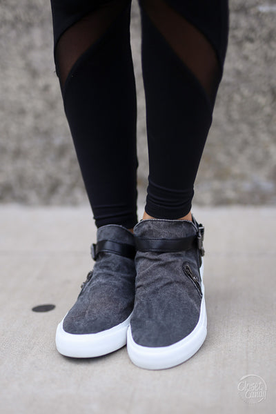Get It Girl Sneakers - cute trendy black high top sneakers, front, Closet Candy Boutique 3
