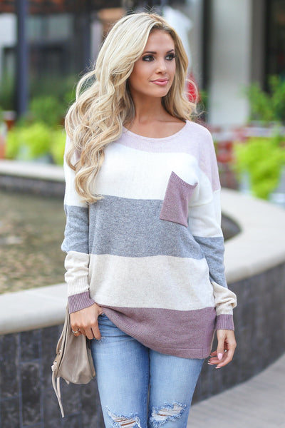Make You Blush Sweater - Dusty Rose, grey, ivory, blush women's cozy, chunky, color block top with pocket, closet candy boutique 4