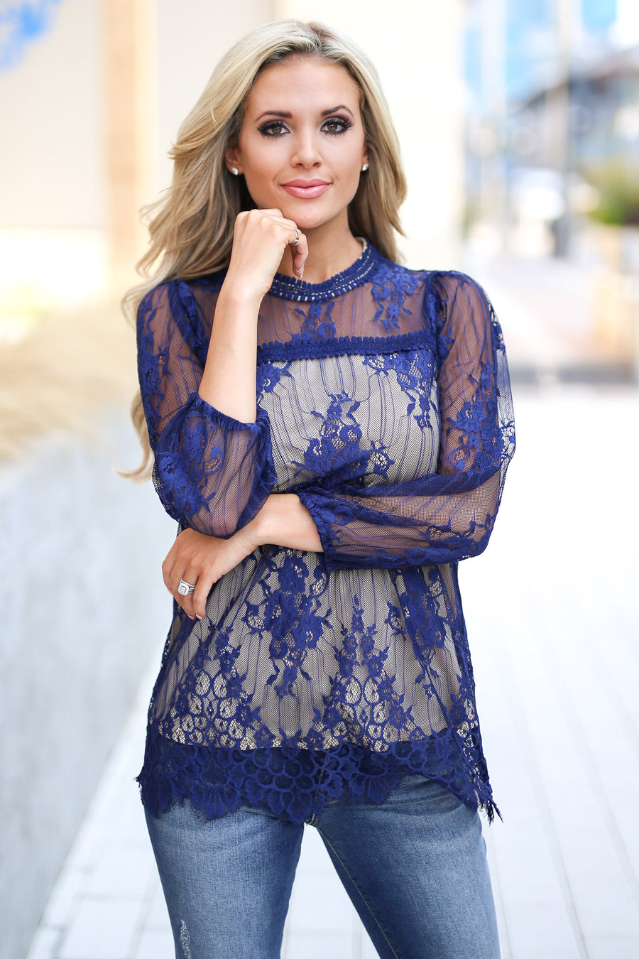 Something Beautiful Lace Top - Navy women's high neck, scallop hemline, keyhole, back detail trendy, pretty closet candy boutique 1
