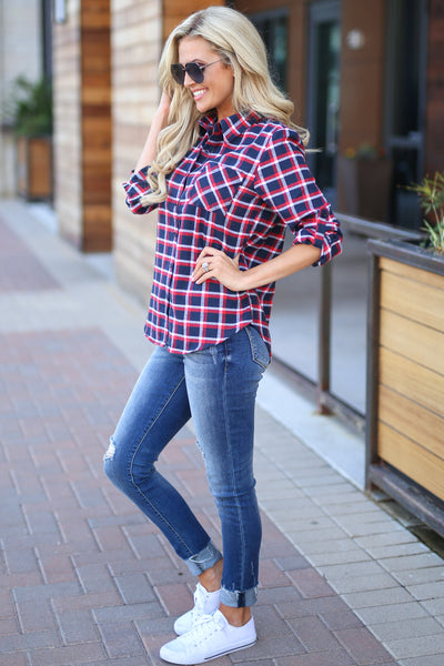 Boyfriend Button Up Top - Navy/Red, plaid button up 3/4 trendy cute top closet candy boutique 4