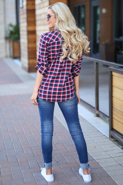 Boyfriend Button Up Top - Navy/Red, plaid button up 3/4 trendy cute top closet candy boutique 5