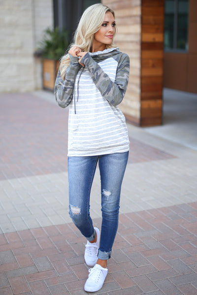 Seeing Stripes Hoodie - Camo & Grey women's adorable stripe top, cozy, chic, sleeve thumbholes, kangaroo pocket closet candy boutique 5
