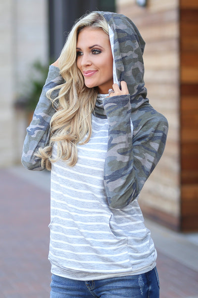 Seeing Stripes Hoodie - Camo & Grey women's adorable stripe top, cozy, chic, sleeve thumbholes, kangaroo pocket closet candy boutique 2