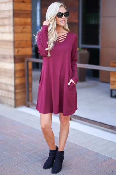 One In A Million Dress - Wine color women's trendy long sleeve dress, criss cross detail, flowy, soft, pockets, closet candy boutique 2