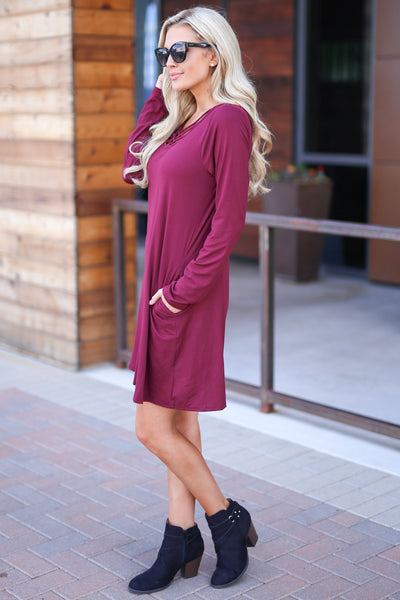 One In A Million Dress - Wine color women's trendy long sleeve dress, criss cross detail, flowy, soft, pockets, closet candy boutique 4