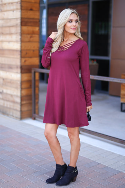 One In A Million Dress - Wine color women's trendy long sleeve dress, criss cross detail, flowy, soft, pockets, closet candy boutique 3